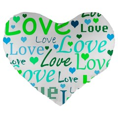 Love Pattern   Green And Blue Large 19  Premium Heart Shape Cushions by Valentinaart