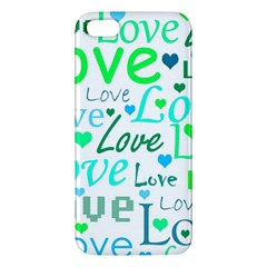 Love Pattern   Green And Blue Apple Iphone 5 Premium Hardshell Case by Valentinaart
