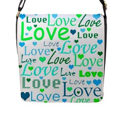 Love pattern - green and blue Flap Messenger Bag (L)  by Valentinaart