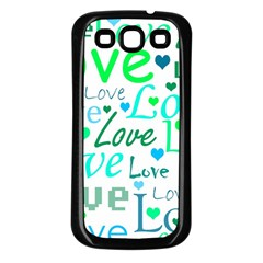 Love Pattern   Green And Blue Samsung Galaxy S3 Back Case (black) by Valentinaart