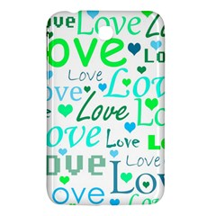 Love Pattern   Green And Blue Samsung Galaxy Tab 3 (7 ) P3200 Hardshell Case  by Valentinaart