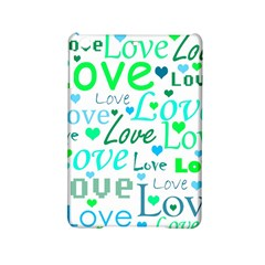 Love Pattern   Green And Blue Ipad Mini 2 Hardshell Cases by Valentinaart