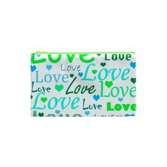 Love Pattern   Green And Blue Cosmetic Bag (xs) by Valentinaart