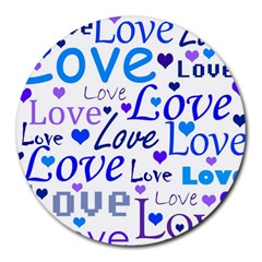 Blue And Purple Love Pattern Round Mousepads by Valentinaart