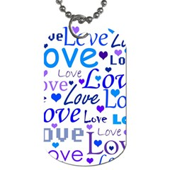 Blue And Purple Love Pattern Dog Tag (two Sides) by Valentinaart