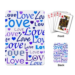 Blue And Purple Love Pattern Playing Card by Valentinaart