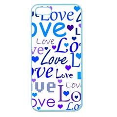 Blue And Purple Love Pattern Apple Seamless Iphone 5 Case (color)