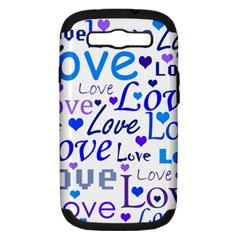 Blue And Purple Love Pattern Samsung Galaxy S Iii Hardshell Case (pc+silicone) by Valentinaart