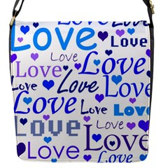 Blue And Purple Love Pattern Flap Messenger Bag (s) by Valentinaart