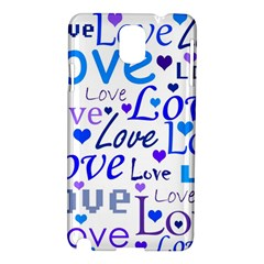 Blue And Purple Love Pattern Samsung Galaxy Note 3 N9005 Hardshell Case by Valentinaart