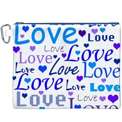 Blue And Purple Love Pattern Canvas Cosmetic Bag (xxxl) by Valentinaart
