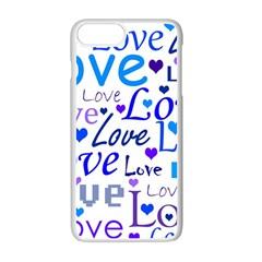 Blue And Purple Love Pattern Apple Iphone 7 Plus White Seamless Case by Valentinaart