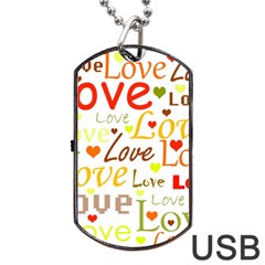 Valentine s Day Pattern Dog Tag Usb Flash (one Side) by Valentinaart
