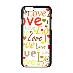 Valentine s Day Pattern Apple Iphone 6/6s Black Enamel Case by Valentinaart