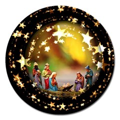 Christmas Crib Virgin Mary Joseph Jesus Christ Three Kings Baby Infant Jesus 4000 Magnet 5  (round) by yoursparklingshop