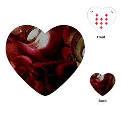 Dark Red Candlelight Candles Playing Cards (heart)  by yoursparklingshop