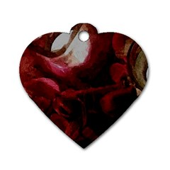 Dark Red Candlelight Candles Dog Tag Heart (one Side) by yoursparklingshop
