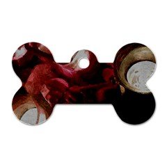 Dark Red Candlelight Candles Dog Tag Bone (one Side) by yoursparklingshop