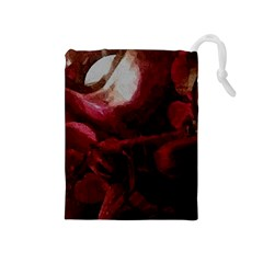 Dark Red Candlelight Candles Drawstring Pouches (medium)  by yoursparklingshop