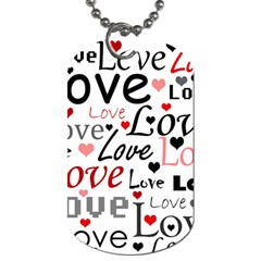 Love Pattern   Red Dog Tag (two Sides) by Valentinaart