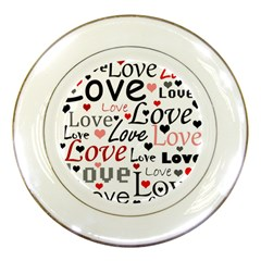 Love Pattern   Red Porcelain Plates by Valentinaart