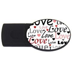 Love Pattern   Red Usb Flash Drive Oval (4 Gb)  by Valentinaart
