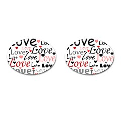 Love Pattern   Red Cufflinks (oval) by Valentinaart