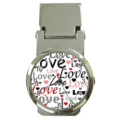 Love Pattern   Red Money Clip Watches by Valentinaart