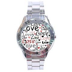 Love Pattern   Red Stainless Steel Analogue Watch by Valentinaart