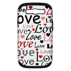 Love Pattern   Red Samsung Galaxy S Iii Hardshell Case (pc+silicone) by Valentinaart