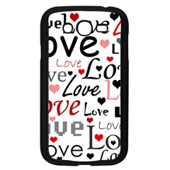 Love Pattern   Red Samsung Galaxy Grand Duos I9082 Case (black) by Valentinaart