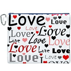Love Pattern   Red Canvas Cosmetic Bag (xxxl) by Valentinaart