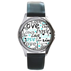 Love Pattern   Cyan Round Metal Watch