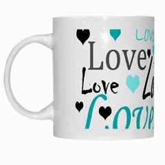 Love Pattern   Cyan White Mugs by Valentinaart