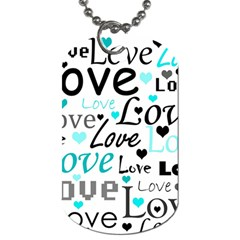 Love Pattern   Cyan Dog Tag (two Sides) by Valentinaart
