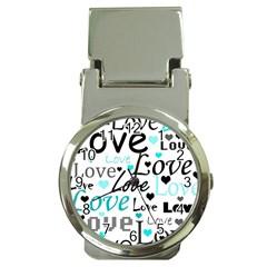 Love Pattern   Cyan Money Clip Watches by Valentinaart