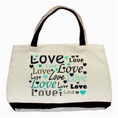 Love Pattern   Cyan Basic Tote Bag by Valentinaart