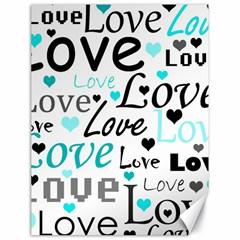 Love Pattern   Cyan Canvas 18  X 24   by Valentinaart