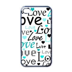Love Pattern   Cyan Apple Iphone 4 Case (black) by Valentinaart