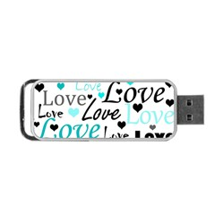 Love Pattern   Cyan Portable Usb Flash (two Sides) by Valentinaart