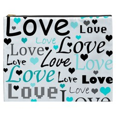 Love Pattern   Cyan Cosmetic Bag (xxxl)  by Valentinaart