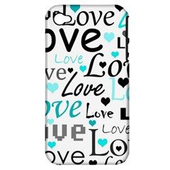 Love Pattern   Cyan Apple Iphone 4/4s Hardshell Case (pc+silicone) by Valentinaart