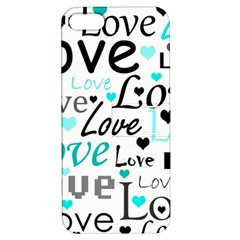 Love Pattern   Cyan Apple Iphone 5 Hardshell Case With Stand by Valentinaart