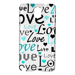 Love Pattern   Cyan Samsung Galaxy Note 3 N9005 Hardshell Case by Valentinaart
