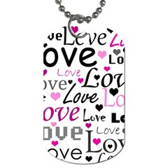 Love Pattern   Magenta Dog Tag (one Side) by Valentinaart