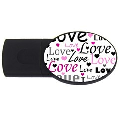 Love Pattern   Magenta Usb Flash Drive Oval (4 Gb)  by Valentinaart
