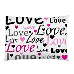 Love Pattern   Magenta Pillow Case by Valentinaart