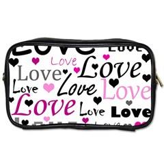 Love Pattern   Magenta Toiletries Bags 2 Side by Valentinaart