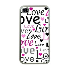 Love Pattern   Magenta Apple Iphone 4 Case (clear) by Valentinaart