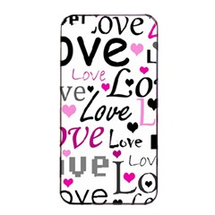 Love Pattern   Magenta Apple Iphone 4/4s Seamless Case (black) by Valentinaart